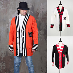 Striped contrast hem knit cardigan