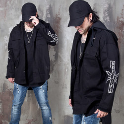 Embroidered sleeves hooded jacket