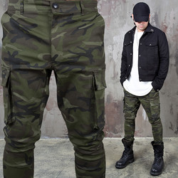 Camouflage cargo pocket back banding pants