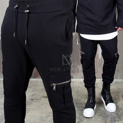 Cargo pocket black bending pants