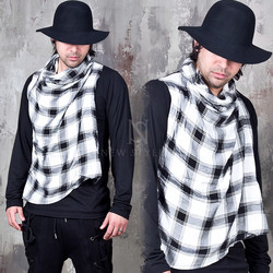 Checkered contrast layer turtle neck shirts