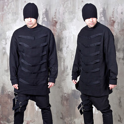 Multiple webbing strap black long shirts