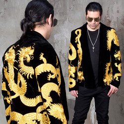 Luxurious gold oriental dragon embroidered blazer