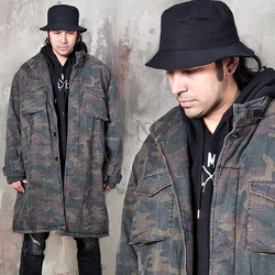 Camouflage lamb wool long field jacket