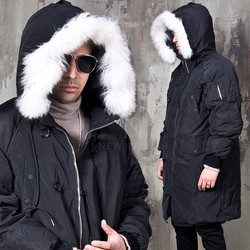White racoon fur duck down padded long parka
