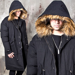 Racoon fur padded long parka