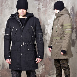 Detachable padded lining multiple accent field jacket