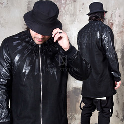 Lightning pattern accent leather sleeves zip-up jacket