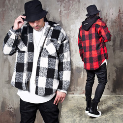Checkered hooded round hem zip-up jacket