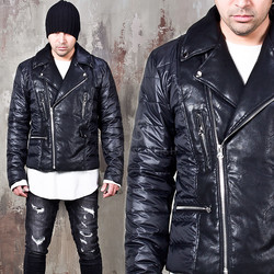 Padded duck down rider leather jacket