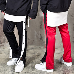 Side striped snap button bending track pants