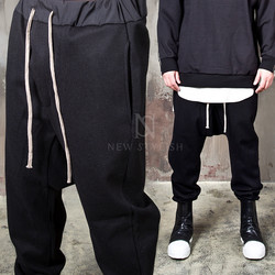Low crotch wool baggy bending pants