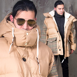 Luxurious contrast duck down padded parka