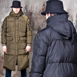 Cozy simple pocket paaded long parka