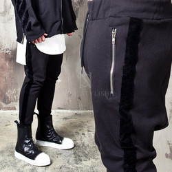Side velvet striped baggy sweatpants