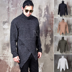 Asymmetric crossed hem corduroy turtle neck shirts