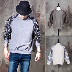 Camouflage contrast raglan napping shirts