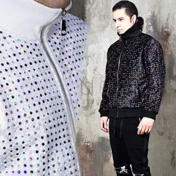 Colorful beads studded velvet high neck bomber jacket