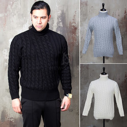 Twisted pattern turtle neck knit sweater
