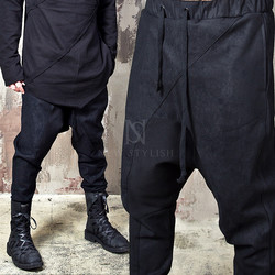 Crack fabric contrast black baggy jogger pants