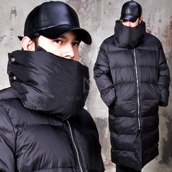 Padded high neck black long parka