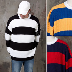 Big contrast striped loose knit sweater