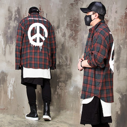Peace symbol printed checkered loose shirts