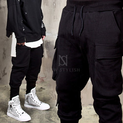 Big cargo pocket black baggy sweatpants