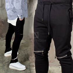 Zippered knee black sweatpants