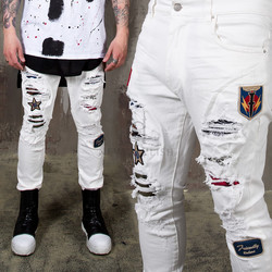 Distressed wappen white slim jeans