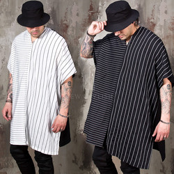Asymmetric striped over-sized t-shirts