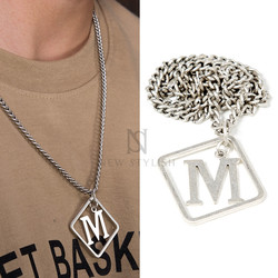 Square M charm chain necklace