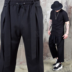 Strap belted pleated banding pants