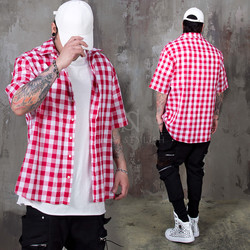 Checkered linen short sleeves shirts