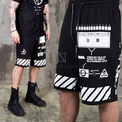 Multiple pattern printed banding shorts