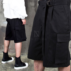 Strap belted big cargo pocket shorts