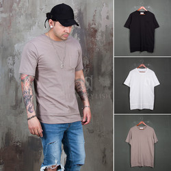 Layered hem basic pocket t-shirts