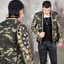 Crystal embroidered camouflage blazer