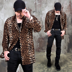 Side opening leopard loose shirts
