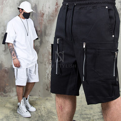 Double zipper cargo pocket banding shorts