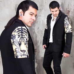 Tiger printed black slim blazer