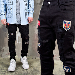 Distressed wappen black slim jeans