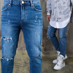 Casual distressed slim straight jeans