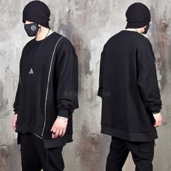 Unbalanced double zipper black sweatshirts