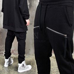 Diagonal zipper accent pintuck sweatpants