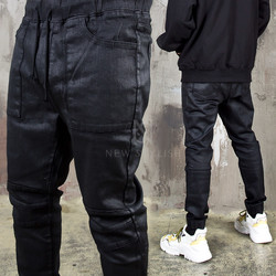 Coated black banding biker jeans