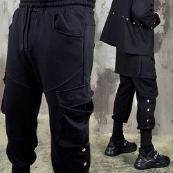 Snap button accent cargo banding pants