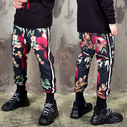 Colorful flower pattern baggy banding pants