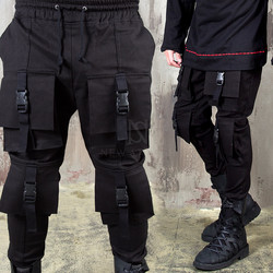 4 Buckle big cargo pocket banding pants