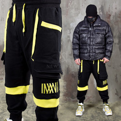 Yellow Contrast accent black sweatpants